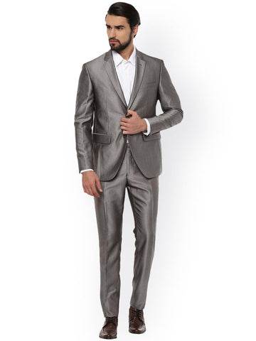 Peter England Grey Slim Fit Single Breasted Party Suit