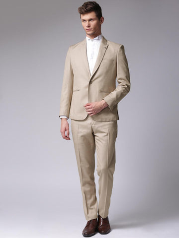 True Blue Beige Single-Breasted Regular Fit Formal Suit