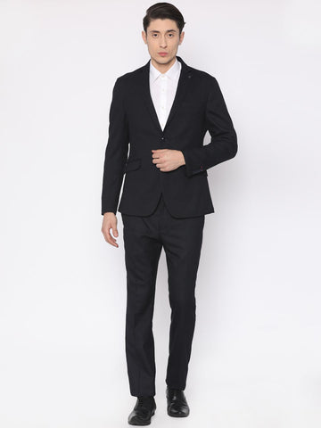 V Dot Men Navy Solid Regular Fit Single-Breasted Formal Suit