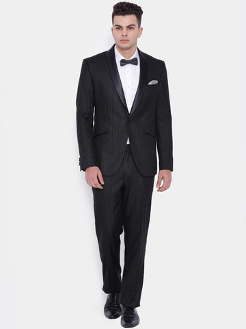 SUITLTD Men Black Single-Breasted Striped Slim Fit Party Suit