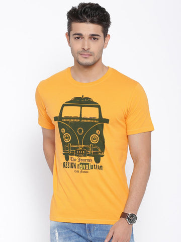 CULT FICTION Mustard Yellow Printed Comfort Fit T-shirt