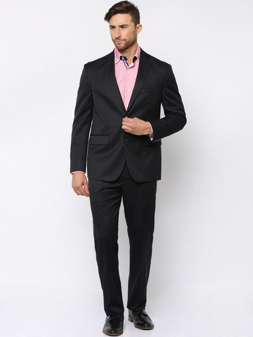 Theme Men Navy Striped Slim Fit Single-Breasted Formal Suit