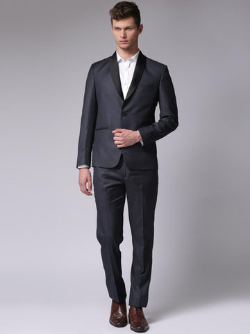True Blue Men Navy Single-Breasted Regular Fit Party Suit