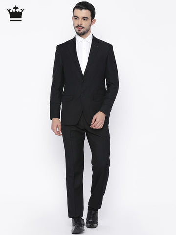 Louis Philippe Black Ultra Fit Single-Breasted Formal Suit