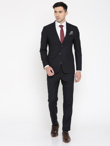 Peter England Men Navy Slim Fit Single-Breasted Formal Suit