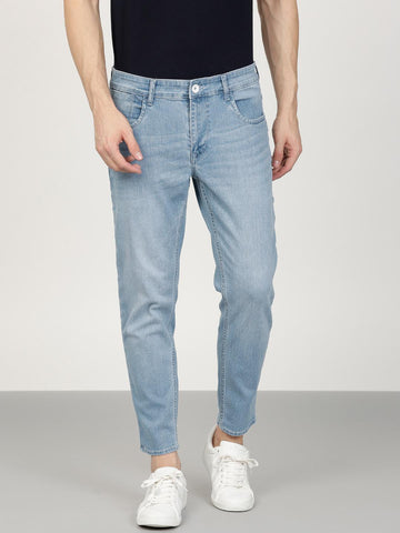 ether Men Blue Regular Fit Mid-Rise Clean Look Stretchable Cropped Jeans
