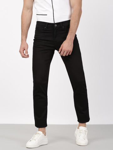 Ether Men Black Slim Fit Stretchable Jeans