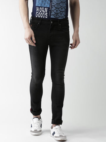 Harvard Men Black Skinny Fit Mid-Rise Clean Look Stretchable Jeans