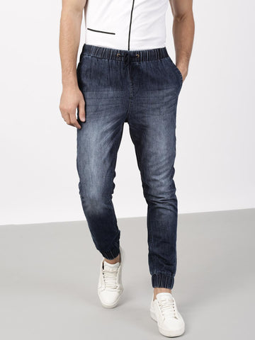 ether Men Blue Slim Fit Mid-Rise Clean Look Joggers