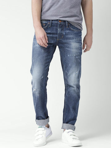 Celio Men Blue Straight Fit Mid-Rise Mildly Distressed Jeans