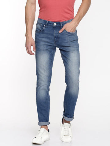 Flying Machine Men Blue Tapered Fit Mid-Rise Clean Look Stretchable Jeans
