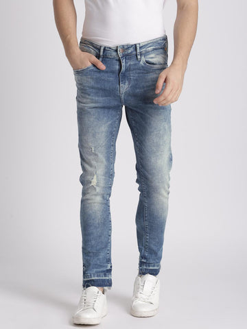 Splash Men Blue Mid-Rise Low Distress Stretchable Jeans