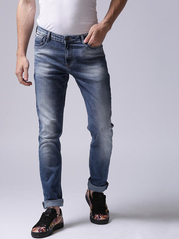 True Blue Men Blue Mid-Rise Clean Look Stretchable Jeans