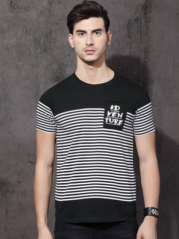 Roadster Men Black Striped Round Neck T-shirt