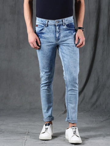 WROGN Men Blue Slim Fit Mid-Rise Clean Look Stretchable Jeans