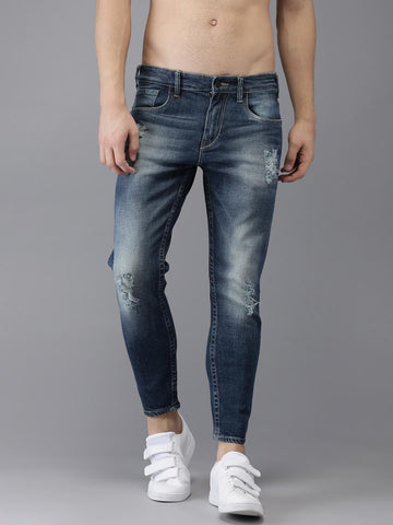 Moda Rapido Men Blue Slim Fit Mid-Rise Clean Look Stretchable Ankle-Length Jeans