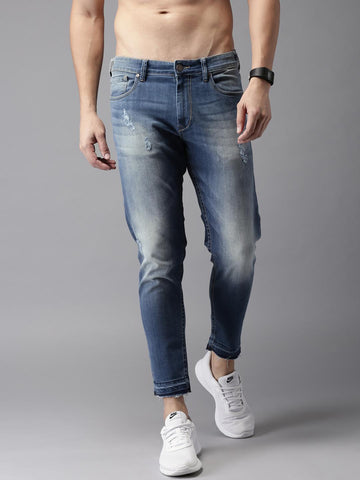 Moda Rapido Men Blue Ankle Length Slim Tapered Fit Mid-Rise Low Distress Stretchable Jeans