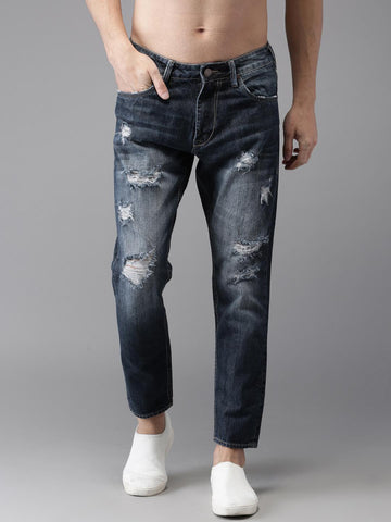 HERE&NOW Men Blue Slim Fit Ankle Length Mid-Rise Mildly Distressed Jeans