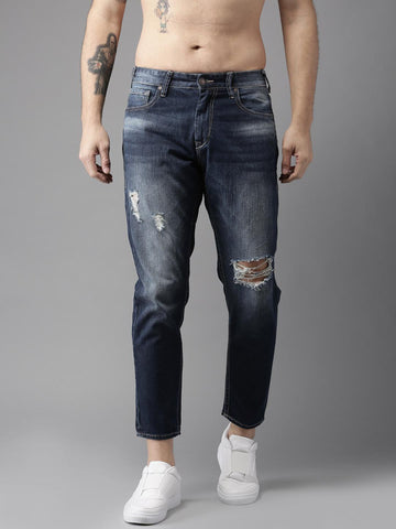 Moda Rapido Men Ankle Length Slim Fit Mid-Rise Mildly Distressed Blue Jeans