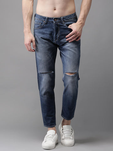 HERE&NOW Men Blue Tapered Fit Ankle Length Mid-Rise Slash Knee Jeans