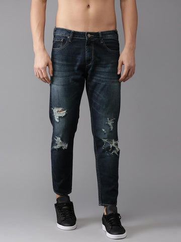 HERE&NOW Men Blue Tapered Fit Ankle Length Mid-Rise Mildly Distressed Jeans
