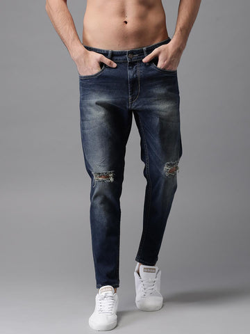 HERE&NOW Men Blue Slim Fit Mid-Rise Mildly Distressed Jeans