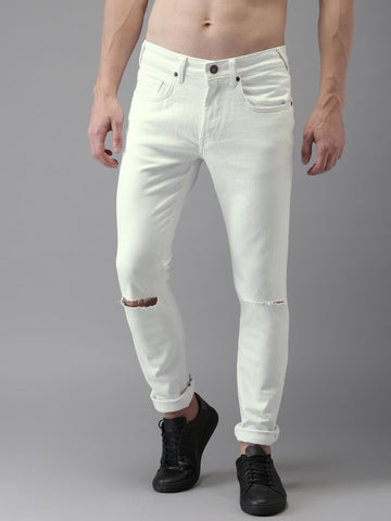HERE&NOW Men White Skinny Fit Mid-Rise Slash Knee Stretchable Jeans