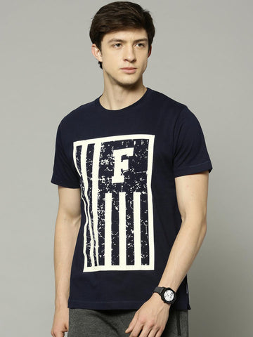French Connection Men Navy & White Printed Round Neck T-Shirt