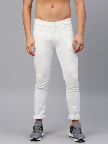 HRX by Hrithik Roshan Men White Skinny Fit Mid-Rise Clean Look Stretchable Jeans