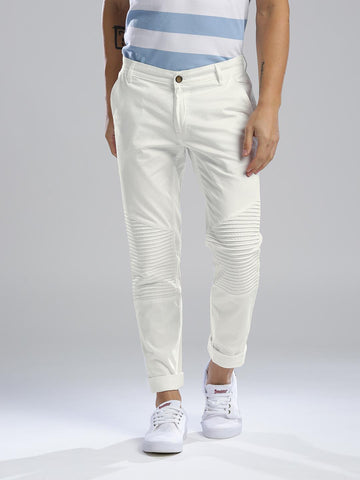 Hubberholme Men White Slim Fit Solid Chinos
