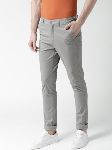 Mast & Harbour Men Grey Slim Fit Solid Regular Trousers