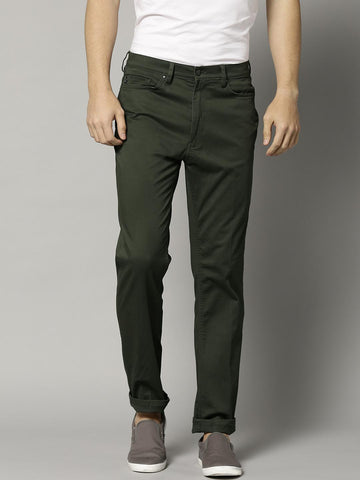 Marks & Spencer Men Olive Green Slim Fit Solid Casual Trousers