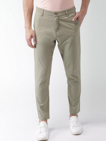 HIGHLANDER Men Olive Green Tapered Fit Solid Chinos