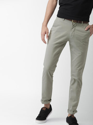 Mast & Harbour Men Grey Skinny Fit Solid Chinos