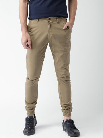 Mast & Harbour Men Khaki Solid Chino Joggers