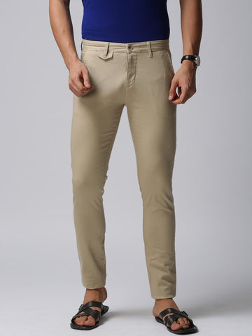 True Blue Men Beige Slim Fit Self Design Regular Trousers