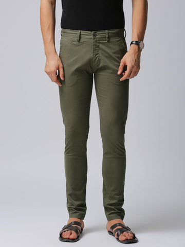 True Blue Men Olive Green Slim Fit Solid Regular Trousers