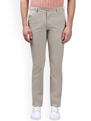 Park Avenue Men Beige Slim Fit Solid Regular Trousers