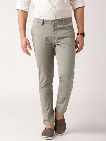 ETHER Grey Casual Slim Fit Trousers