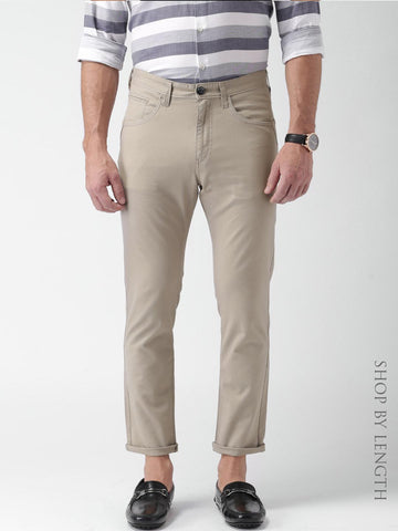 Mast & Harbour Taupe Slim Differential Length Casual Trousers