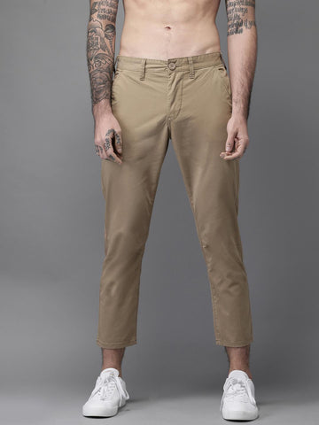 HERE&NOW Men Beige Slim Fit Solid Chinos