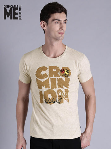 Minions by Kook N Keech Men Beige Printed Round Neck T-shirt