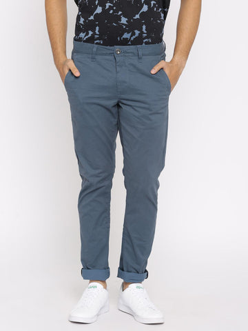Being Human Clothing Men Blue Slim Fit Striped Chinos