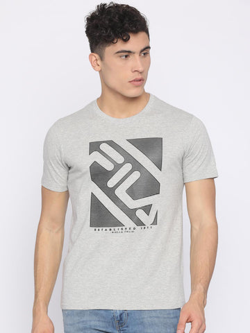 FILA Men Grey Melange Printed Round Neck T-shirt