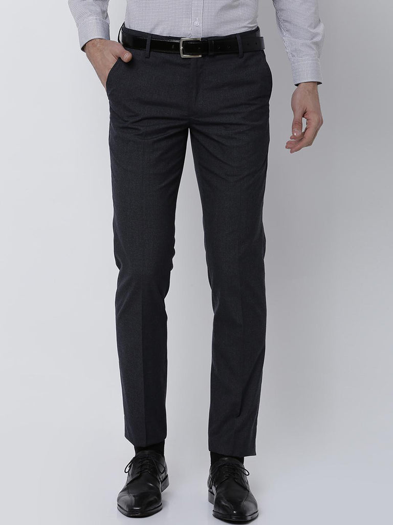 c6d405958e4 Black coffee Men Charcoal Regular Fit Solid Formal Trousers ...