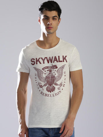 GAS Men Off-White JOI Skywalk Printed Round Neck T-shirt
