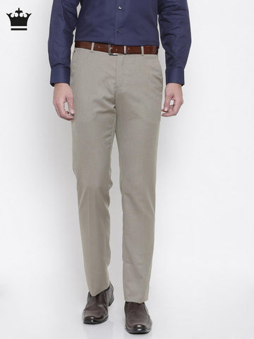 Louis Philippe Men Beige Solid Formal Trousers