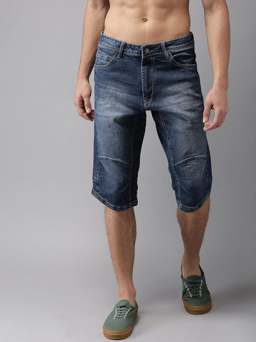 HERE&NOW Men Navy Washed Denim Shorts