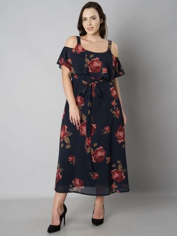 FabAlley Curve Women Navy Blue Printed Maxi Dress