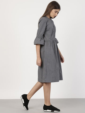 ether Women Grey Solid A-Line Dress